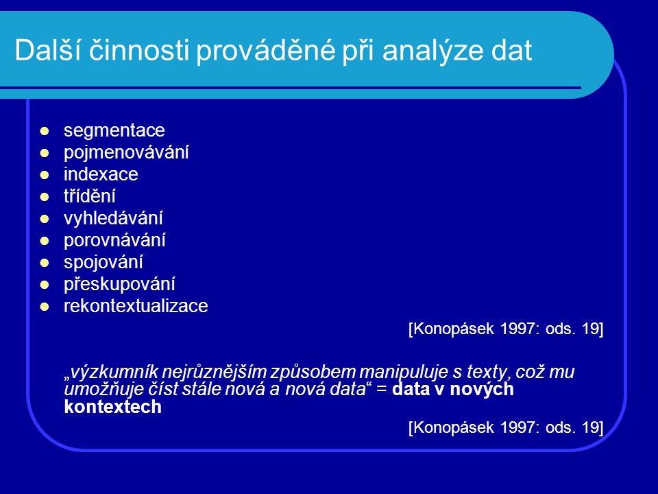 Další činnosti prováděné při analýze dat