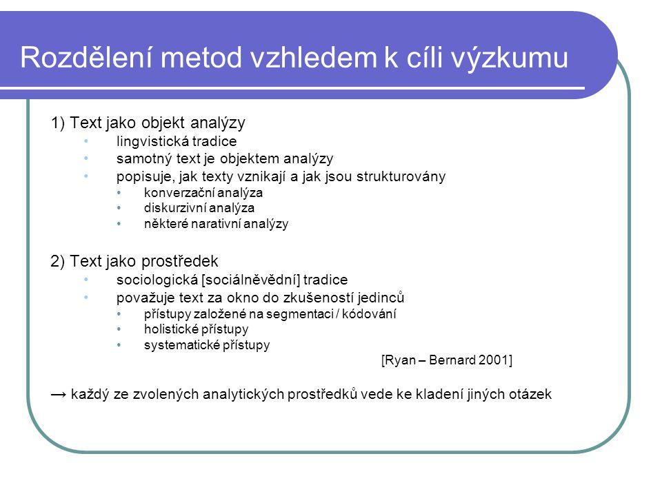 Rozdělení metod vzhledem k cíli výzkumu