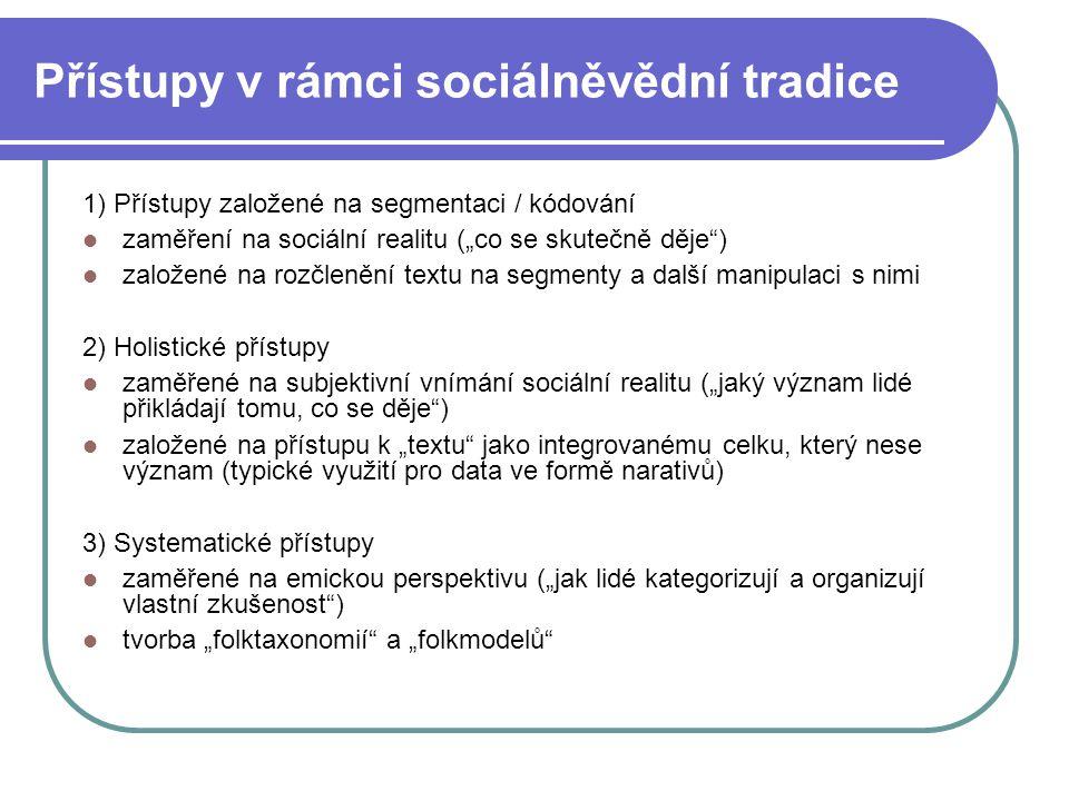 Přístupy v rámci sociálněvědní tradice