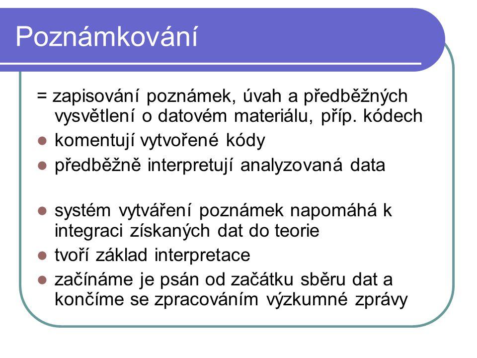Poznámkování = zapisování poznámek, úvah a předběžných vysvětlení o datovém materiálu, příp. kódech.