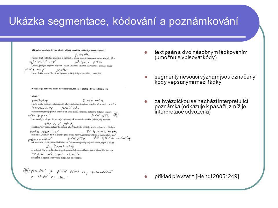 Ukázka segmentace, kódování a poznámkování