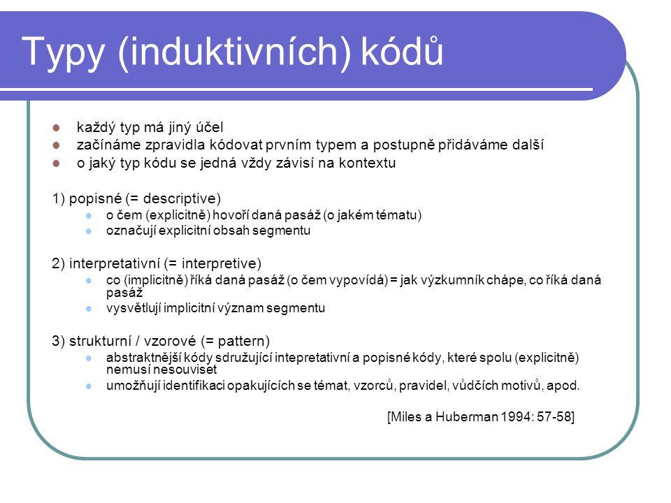 Typy (induktivních) kódů