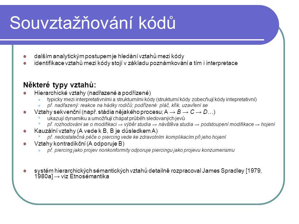 Souvztažňování kódů Některé typy vztahů: