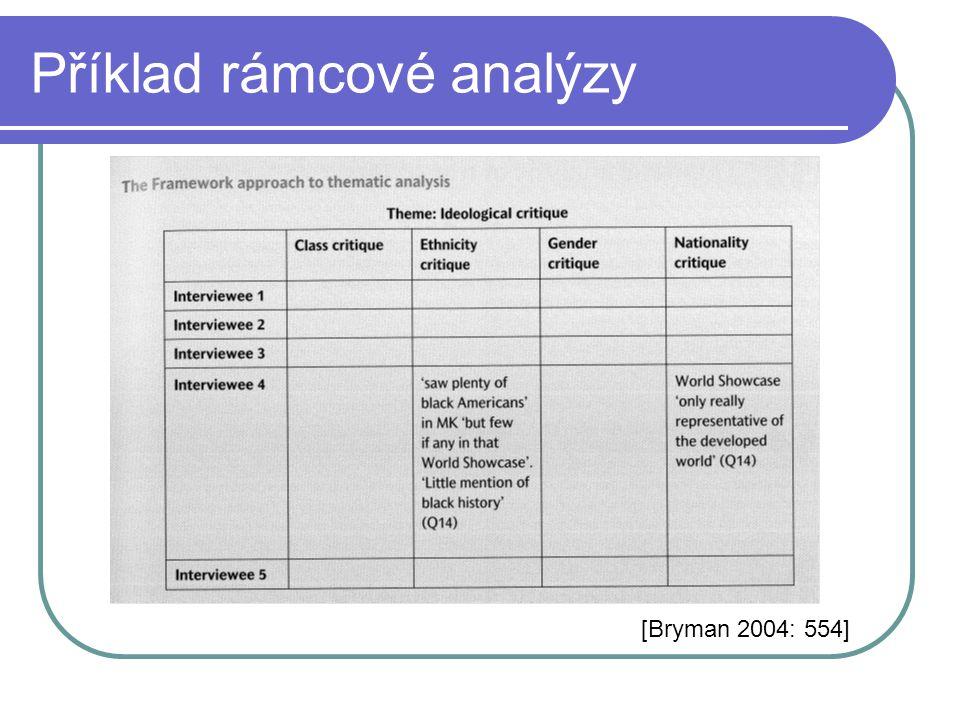 Příklad rámcové analýzy