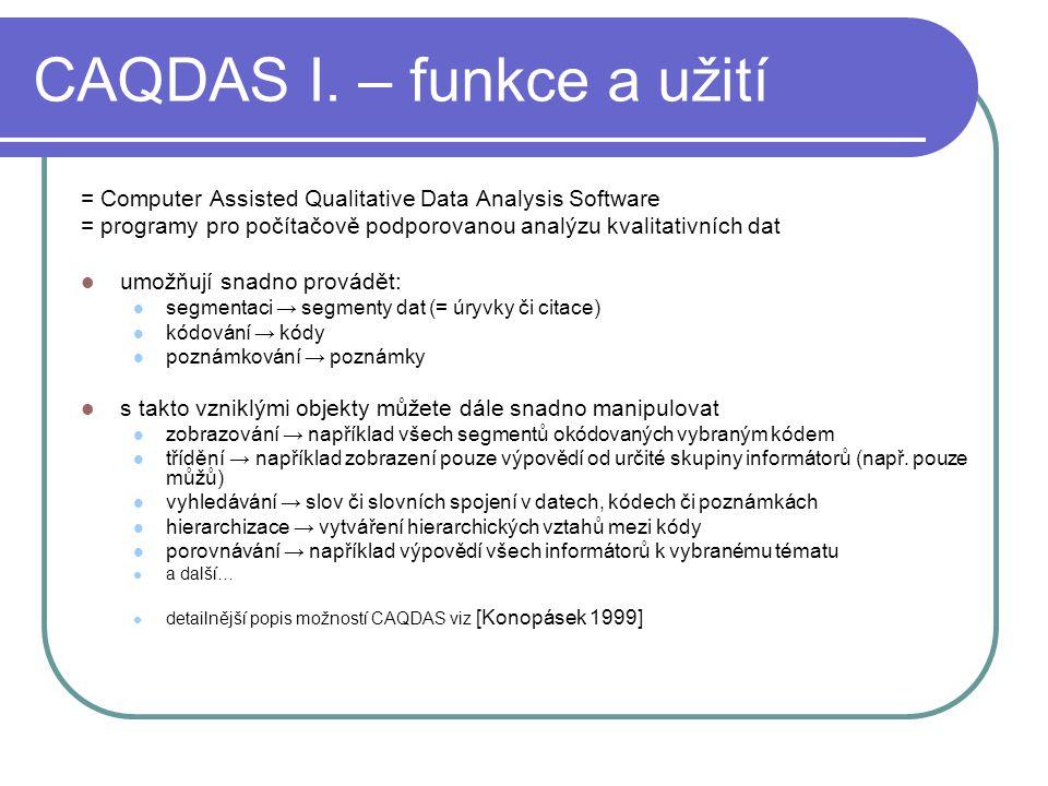 CAQDAS I. – funkce a užití