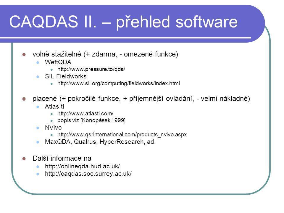 CAQDAS II. – přehled software
