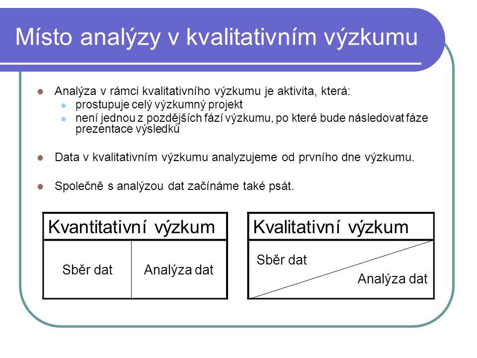 Místo analýzy v kvalitativním výzkumu