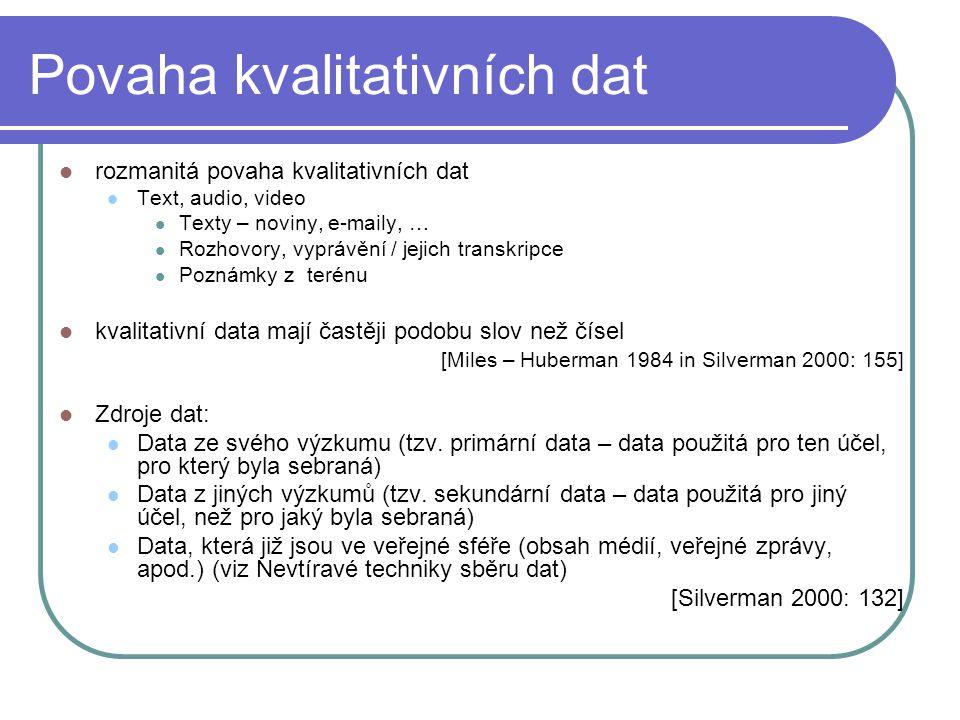 Povaha kvalitativních dat