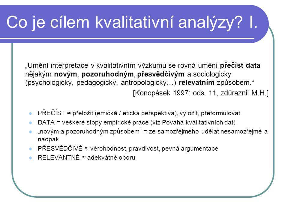 Co je cílem kvalitativní analýzy I.