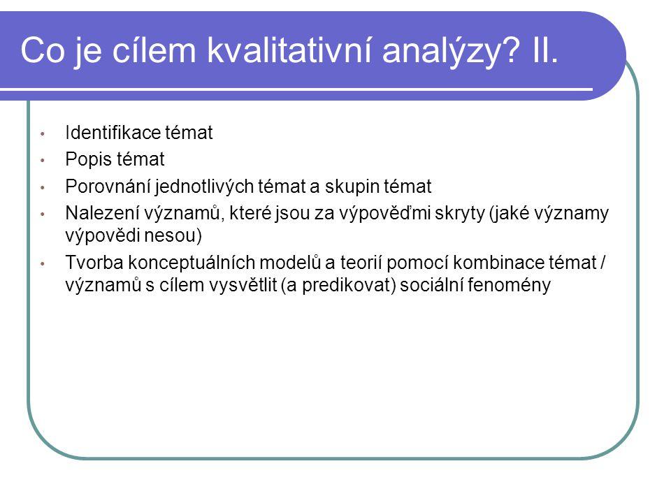 Co je cílem kvalitativní analýzy II.