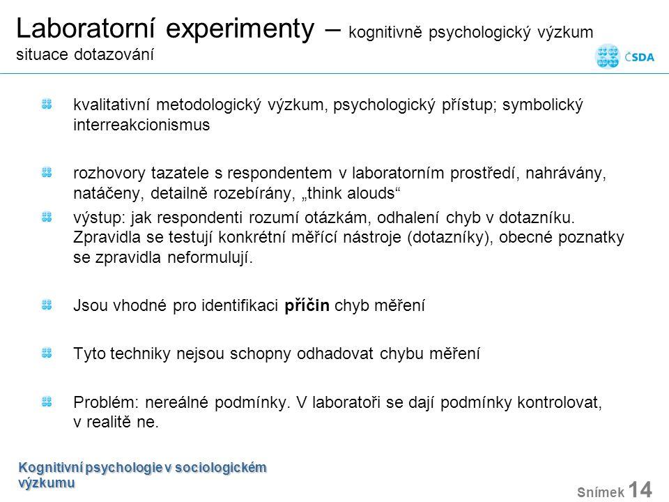 Laboratorní experimenty – kognitivně psychologický výzkum situace dotazování