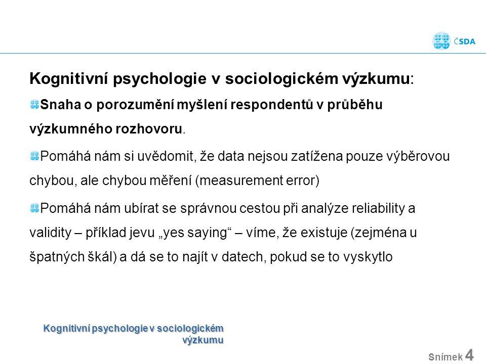 Kognitivní psychologie v sociologickém výzkumu: