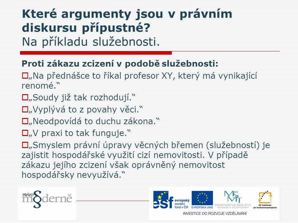 Které argumenty jsou v právním diskursu přípustné