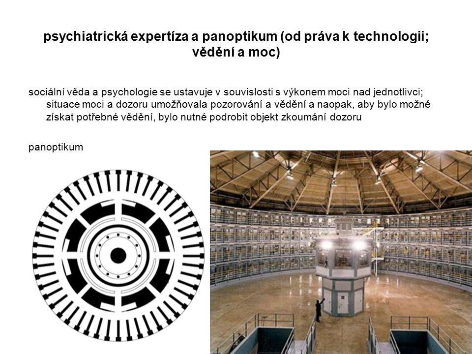 psychiatrická expertíza a panoptikum (od práva k technologii; vědění a moc)