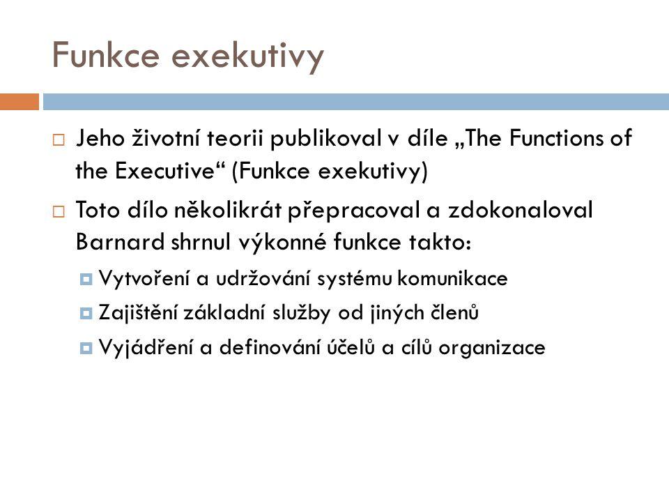 """Funkce exekutivy Jeho životní teorii publikoval v díle """"The Functions of the Executive (Funkce exekutivy)"""