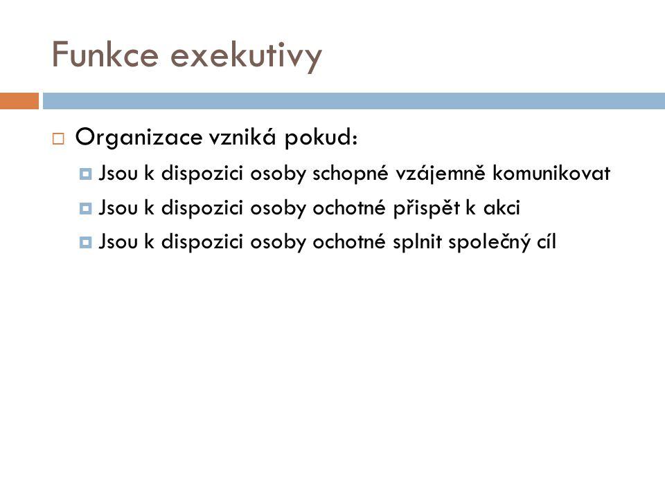 Funkce exekutivy Organizace vzniká pokud: