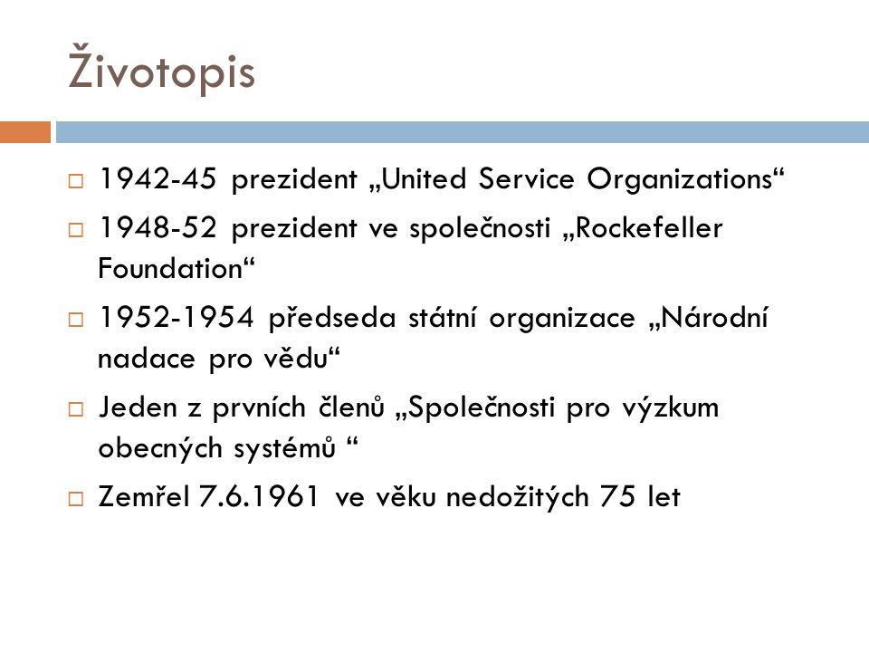"Životopis 1942-45 prezident ""United Service Organizations"