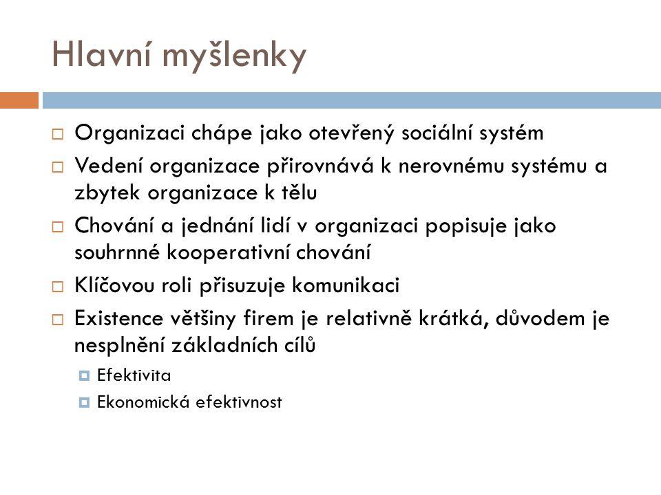 Hlavní myšlenky Organizaci chápe jako otevřený sociální systém