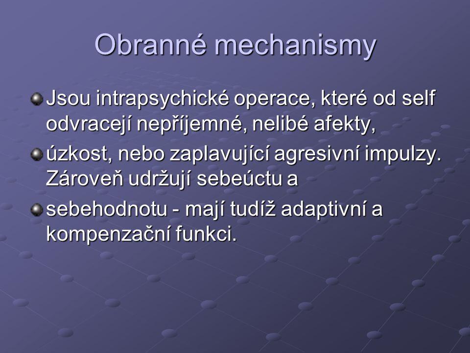 Obranné mechanismy Jsou intrapsychické operace, které od self odvracejí nepříjemné, nelibé afekty,