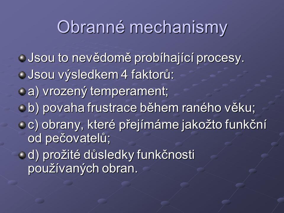 Obranné mechanismy Jsou to nevědomě probíhající procesy.