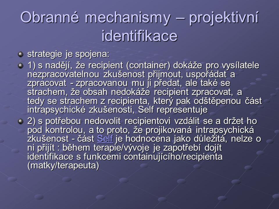 Obranné mechanismy – projektivní identifikace
