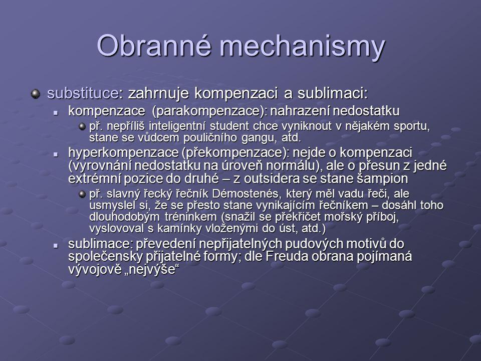 Obranné mechanismy substituce: zahrnuje kompenzaci a sublimaci: