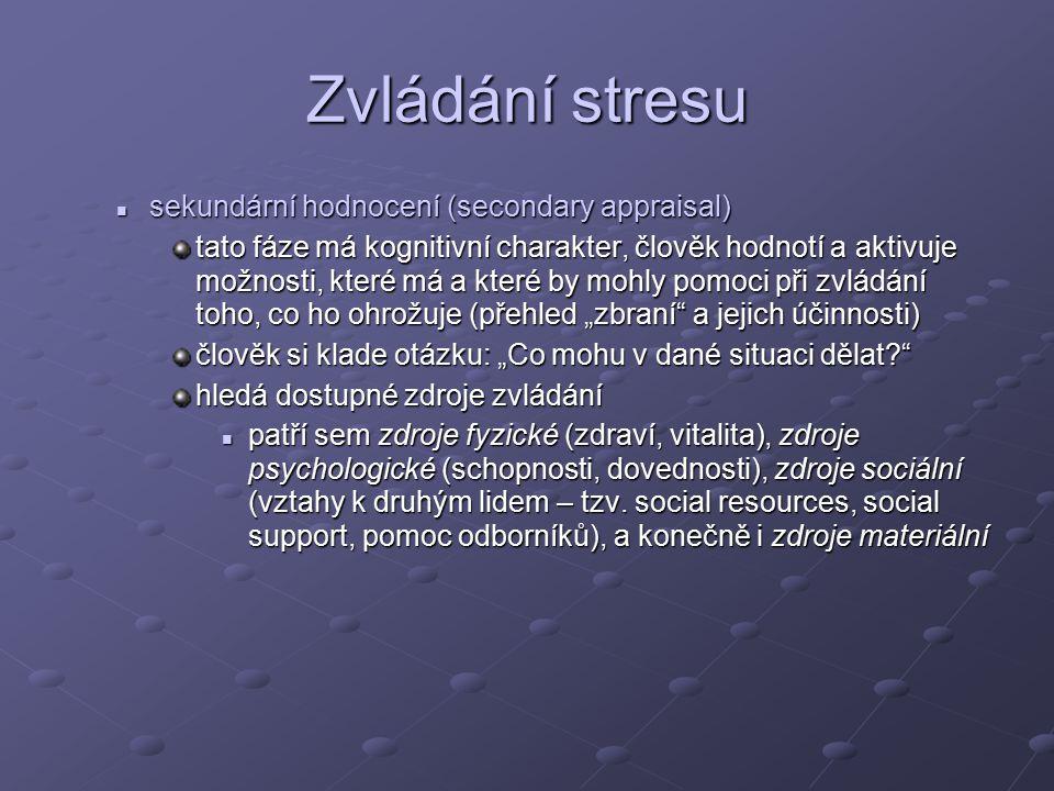 Zvládání stresu sekundární hodnocení (secondary appraisal)