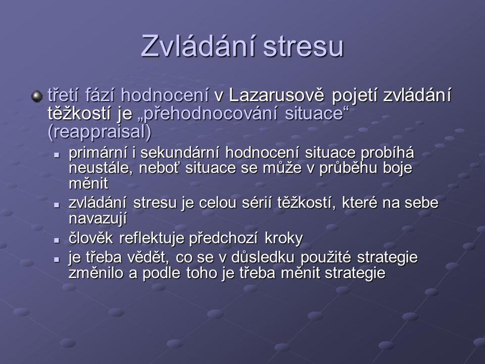 """Zvládání stresu třetí fází hodnocení v Lazarusově pojetí zvládání těžkostí je """"přehodnocování situace (reappraisal)"""