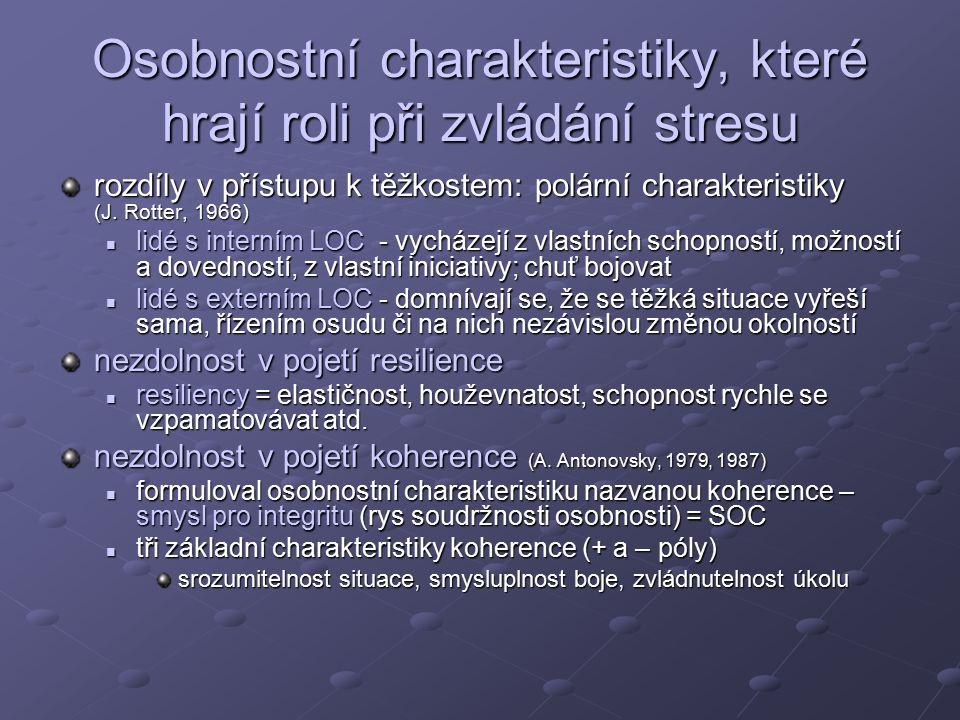 Osobnostní charakteristiky, které hrají roli při zvládání stresu