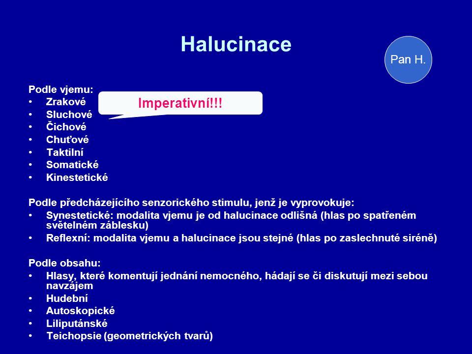 Halucinace Imperativní!!! Pan H. Podle vjemu: Zrakové Sluchové Čichové
