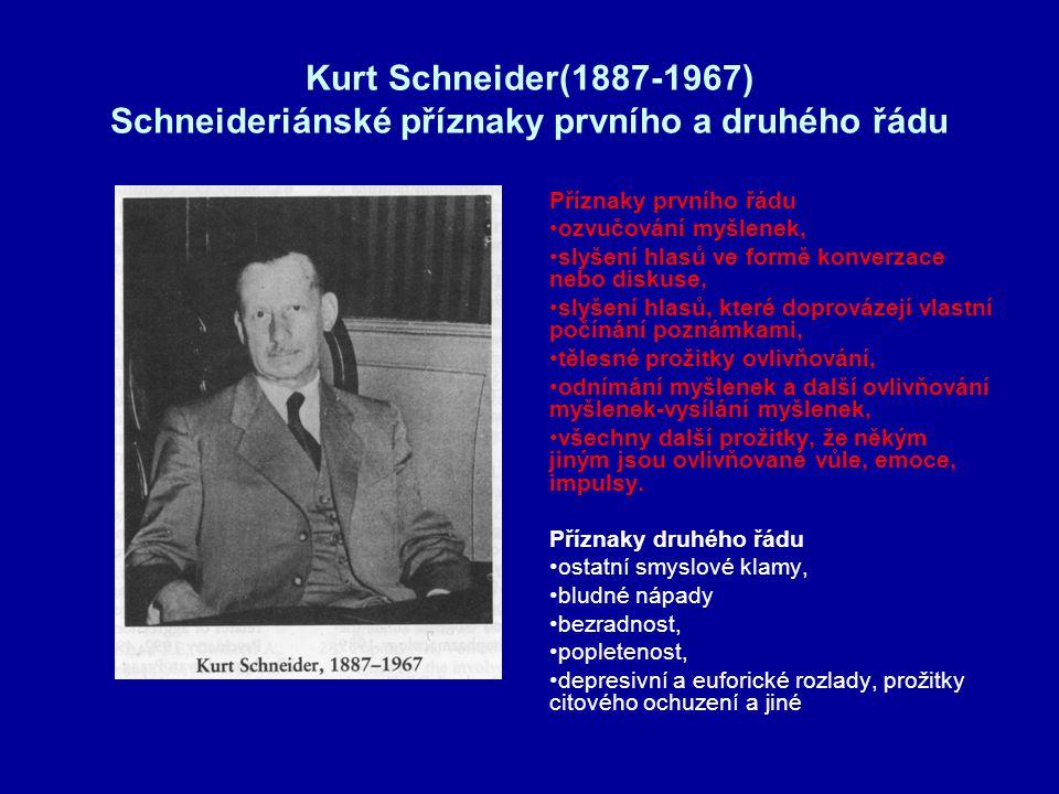 Kurt Schneider(1887-1967) Schneideriánské příznaky prvního a druhého řádu
