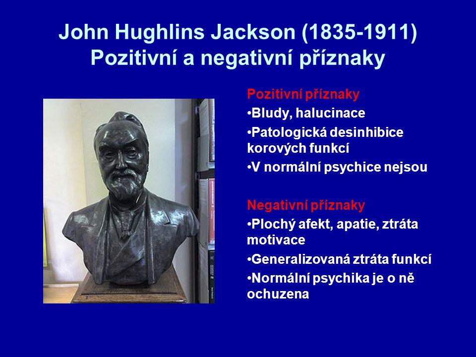 John Hughlins Jackson (1835-1911) Pozitivní a negativní příznaky