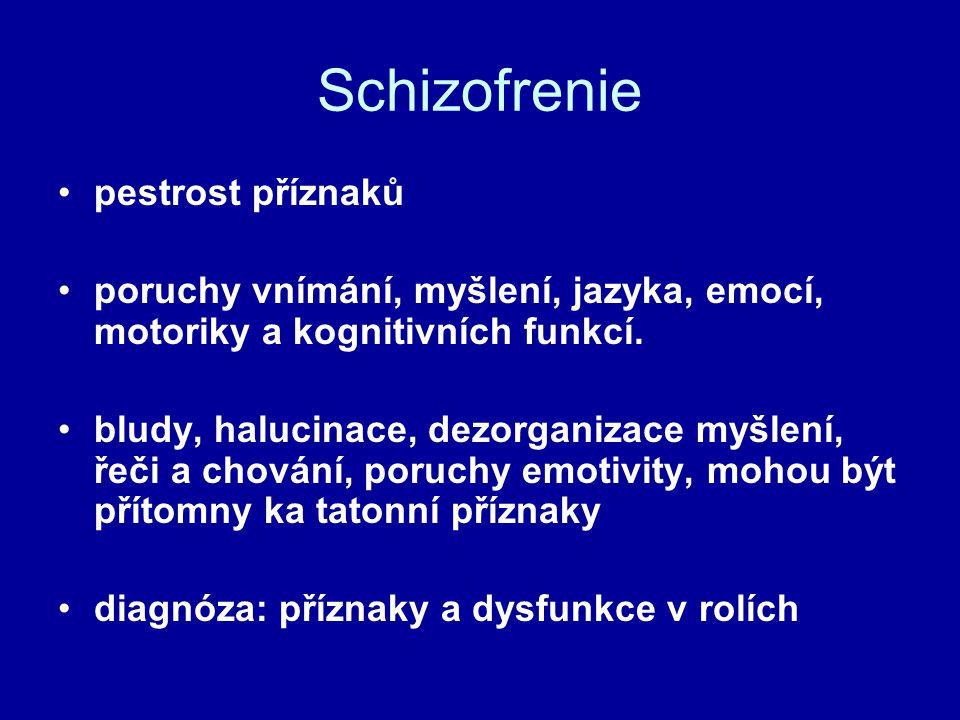 Schizofrenie pestrost příznaků