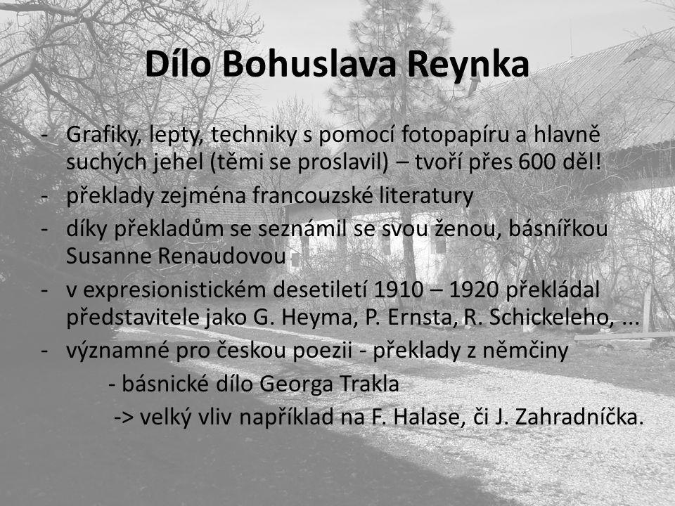 Dílo Bohuslava Reynka Grafiky, lepty, techniky s pomocí fotopapíru a hlavně suchých jehel (těmi se proslavil) – tvoří přes 600 děl!