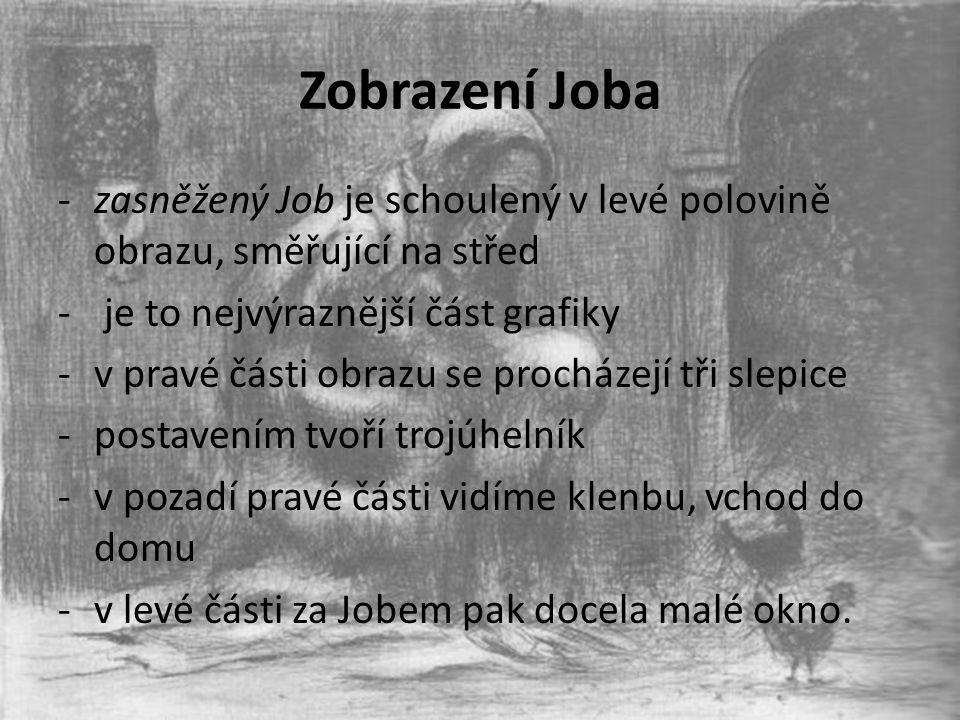 Zobrazení Joba zasněžený Job je schoulený v levé polovině obrazu, směřující na střed. je to nejvýraznější část grafiky.