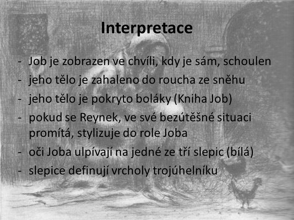 Interpretace Job je zobrazen ve chvíli, kdy je sám, schoulen