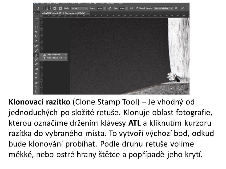 Klonovací razítko (Clone Stamp Tool) – Je vhodný od jednoduchých po složité retuše.