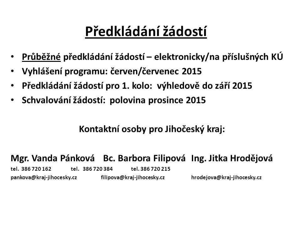Kontaktní osoby pro Jihočeský kraj: