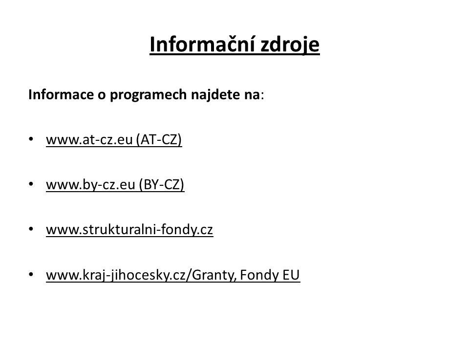 Informační zdroje Informace o programech najdete na: