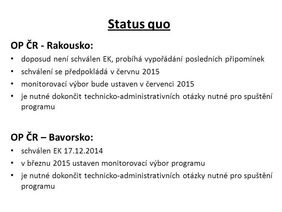 Status quo OP ČR - Rakousko: OP ČR – Bavorsko: