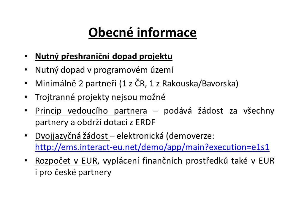 Obecné informace Nutný přeshraniční dopad projektu