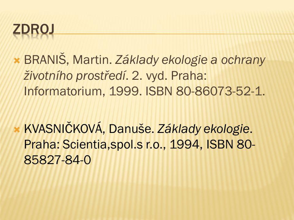 Zdroj BRANIŠ, Martin. Základy ekologie a ochrany životního prostředí. 2. vyd. Praha: Informatorium, 1999. ISBN 80-86073-52-1.