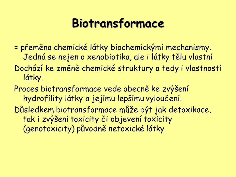 Biotransformace = přeměna chemické látky biochemickými mechanismy. Jedná se nejen o xenobiotika, ale i látky tělu vlastní.