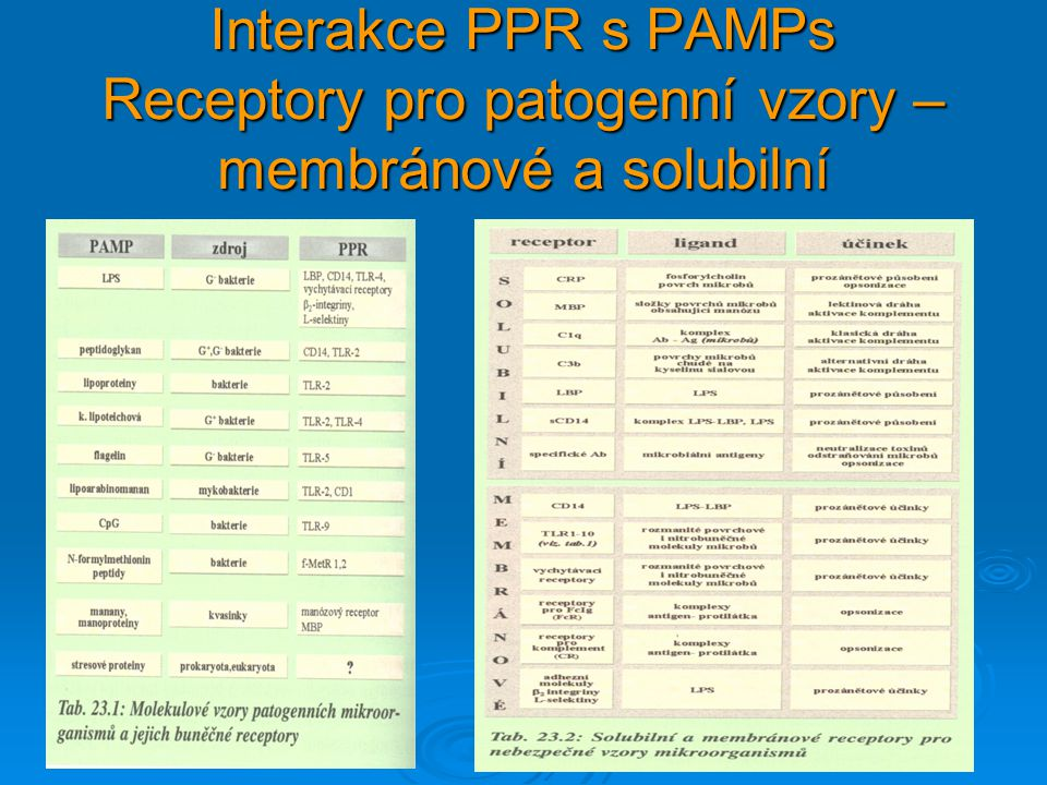 Interakce PPR s PAMPs Receptory pro patogenní vzory – membránové a solubilní