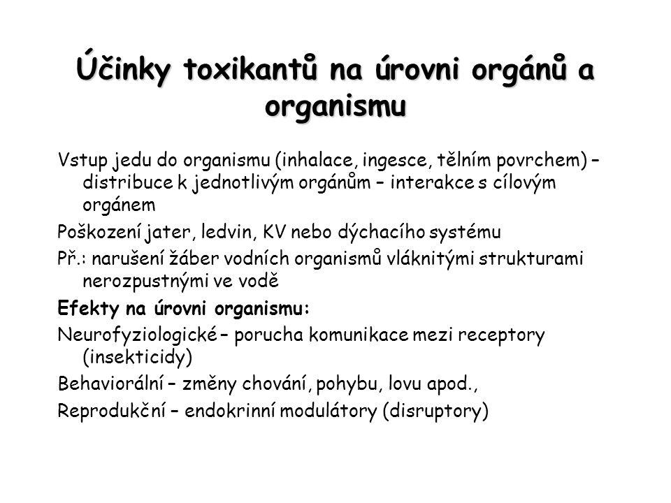 Účinky toxikantů na úrovni orgánů a organismu