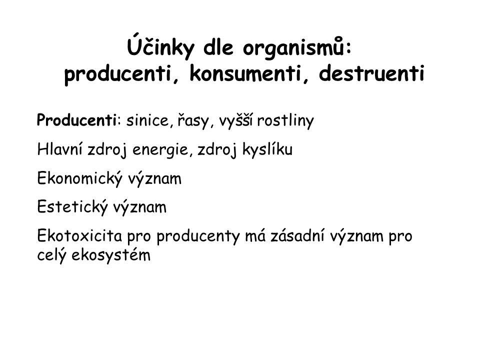 Účinky dle organismů: producenti, konsumenti, destruenti
