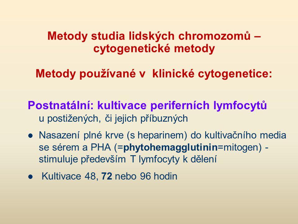Metody studia lidských chromozomů – cytogenetické metody Metody používané v klinické cytogenetice: