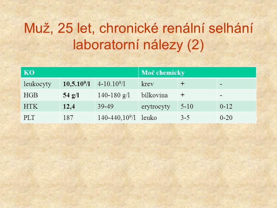 Muž, 25 let, chronické renální selhání laboratorní nálezy (2)