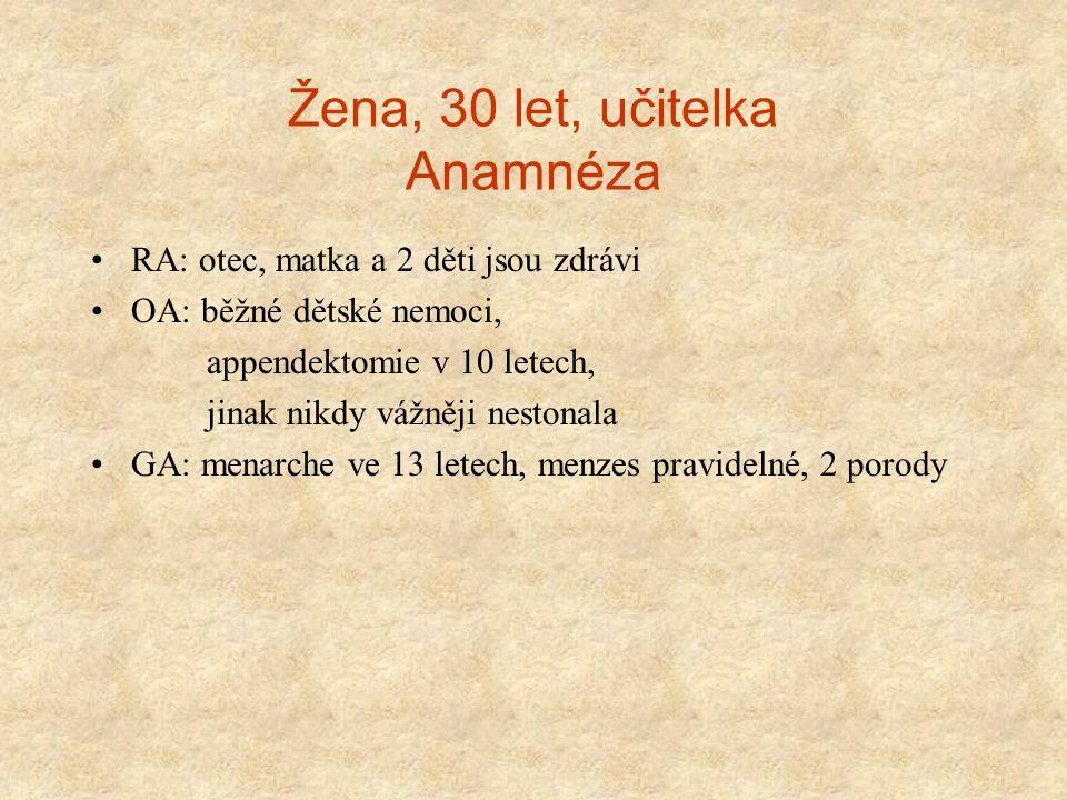 Žena, 30 let, učitelka Anamnéza