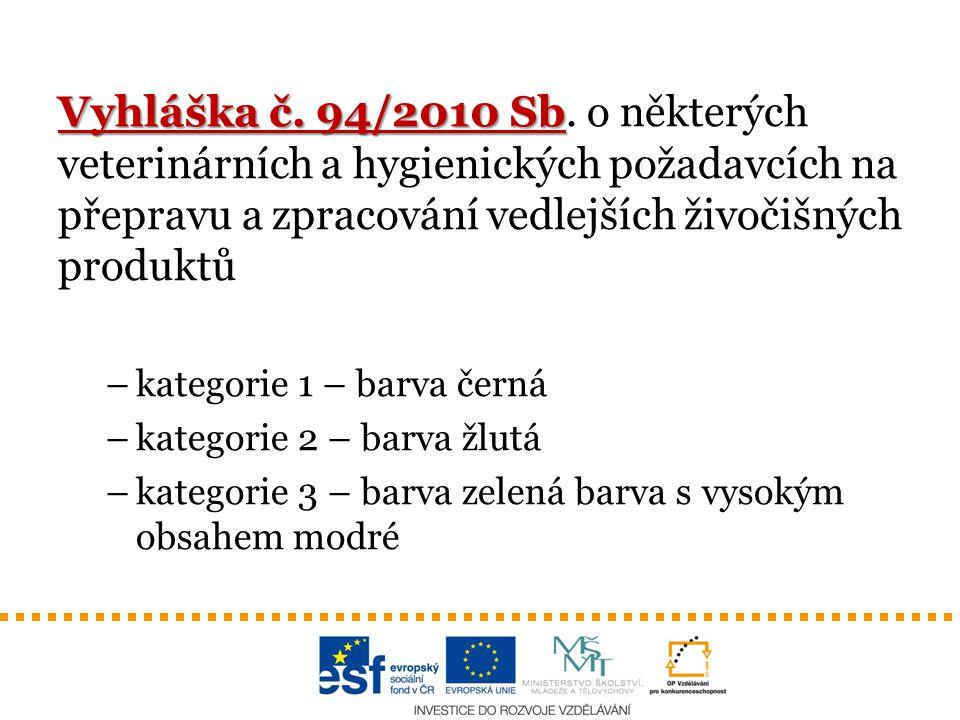 Vyhláška č. 94/2010 Sb. o některých veterinárních a hygienických požadavcích na přepravu a zpracování vedlejších živočišných produktů